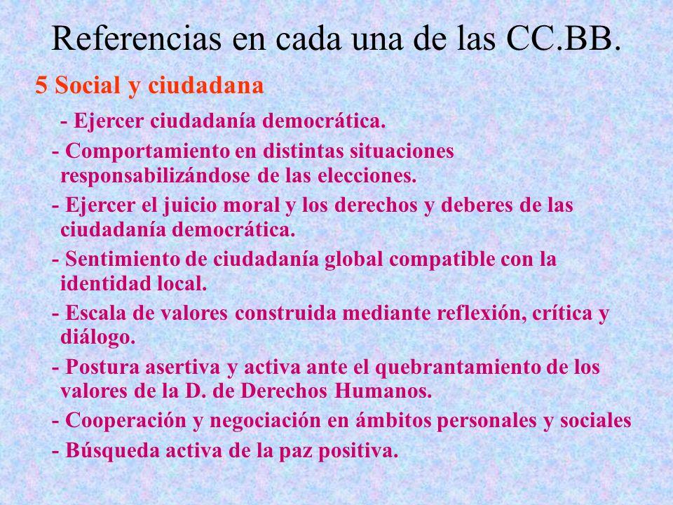 Referencias en cada una de las CC.BB. 5 Social y ciudadana - Ejercer ciudadanía democrática. - Comportamiento en distintas situaciones responsabilizán
