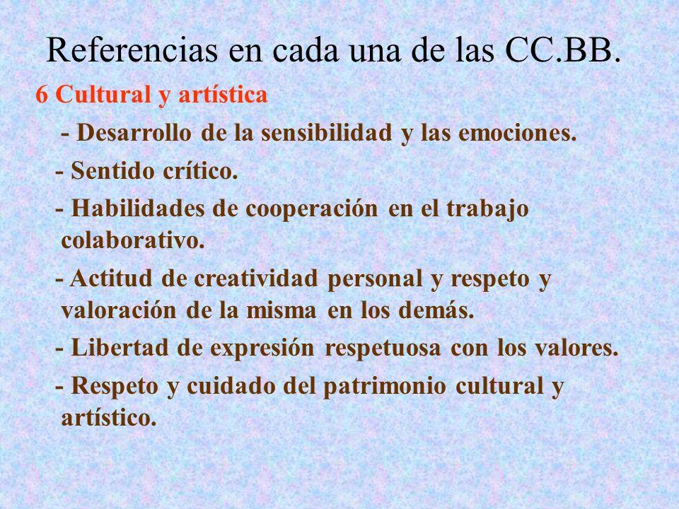 Referencias en cada una de las CC.BB. 6 Cultural y artística - Desarrollo de la sensibilidad y las emociones. - Sentido crítico. - Habilidades de coop
