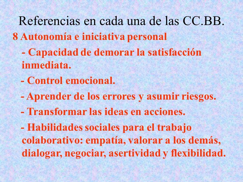 Referencias en cada una de las CC.BB. 8 Autonomía e iniciativa personal - Capacidad de demorar la satisfacción inmediata. - Control emocional. - Apren