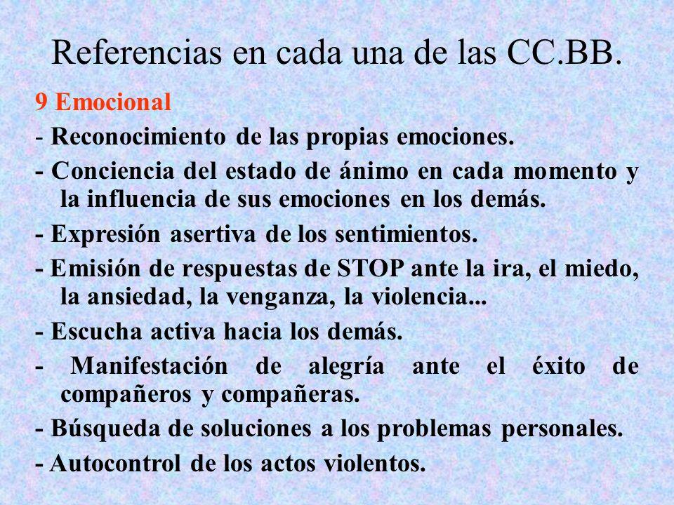 Referencias en cada una de las CC.BB. 9 Emocional - Reconocimiento de las propias emociones. - Conciencia del estado de ánimo en cada momento y la inf