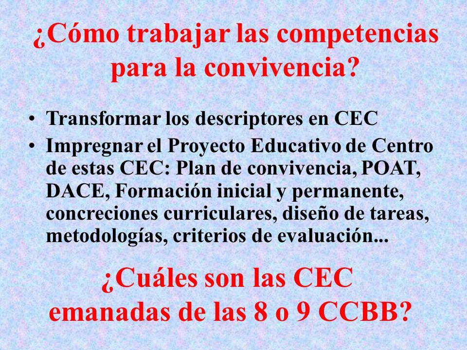 ¿Cómo trabajar las competencias para la convivencia? Transformar los descriptores en CEC Impregnar el Proyecto Educativo de Centro de estas CEC: Plan