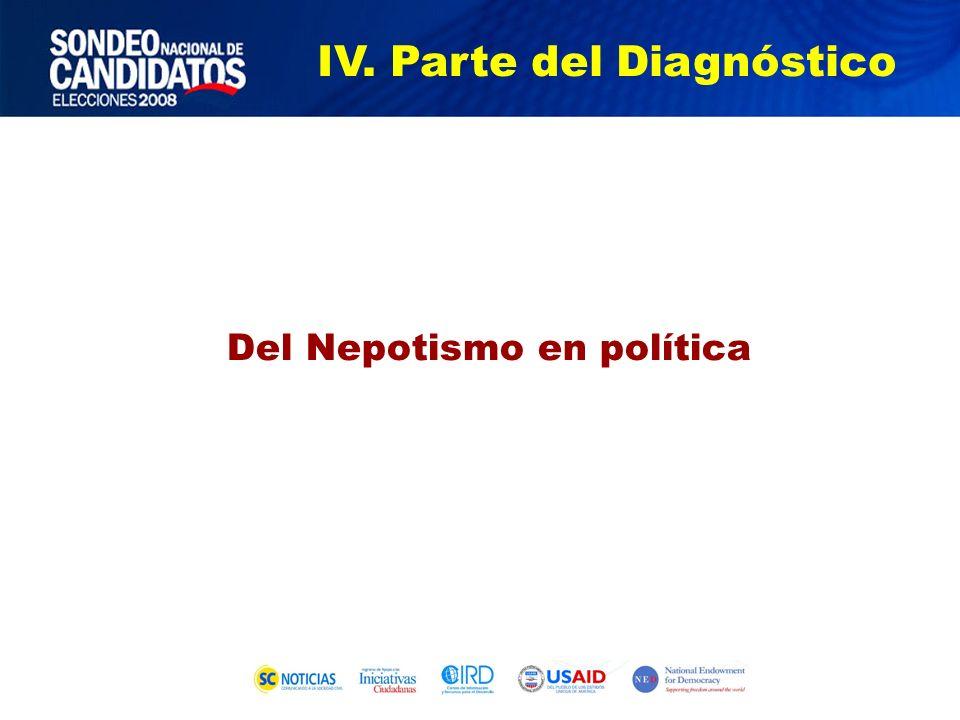 Del Nepotismo en política IV. Parte del Diagnóstico