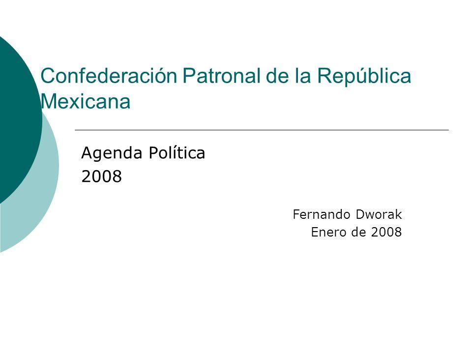 Confederación Patronal de la República Mexicana Agenda Política 2008 Fernando Dworak Enero de 2008