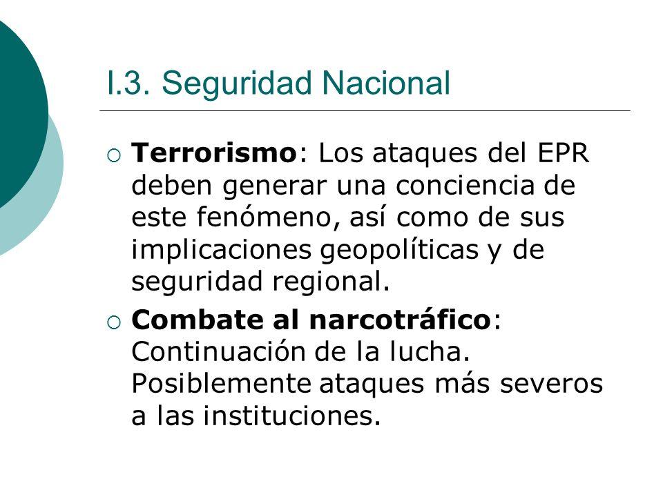 I.3. Seguridad Nacional Terrorismo: Los ataques del EPR deben generar una conciencia de este fenómeno, así como de sus implicaciones geopolíticas y de