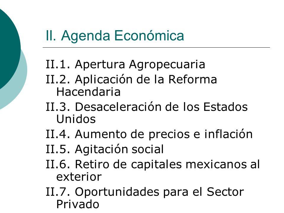 II. Agenda Económica II.1. Apertura Agropecuaria II.2. Aplicación de la Reforma Hacendaria II.3. Desaceleración de los Estados Unidos II.4. Aumento de