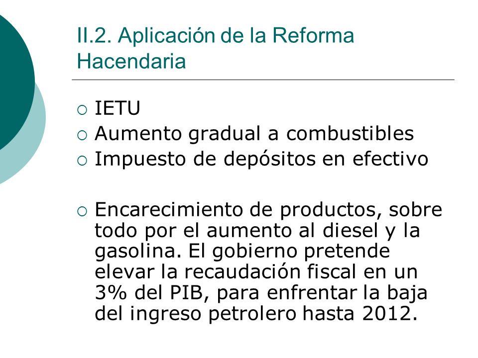 II.2. Aplicación de la Reforma Hacendaria IETU Aumento gradual a combustibles Impuesto de depósitos en efectivo Encarecimiento de productos, sobre tod