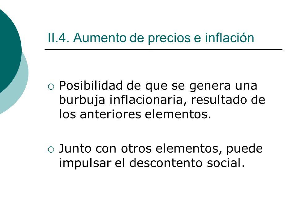 II.4. Aumento de precios e inflación Posibilidad de que se genera una burbuja inflacionaria, resultado de los anteriores elementos. Junto con otros el