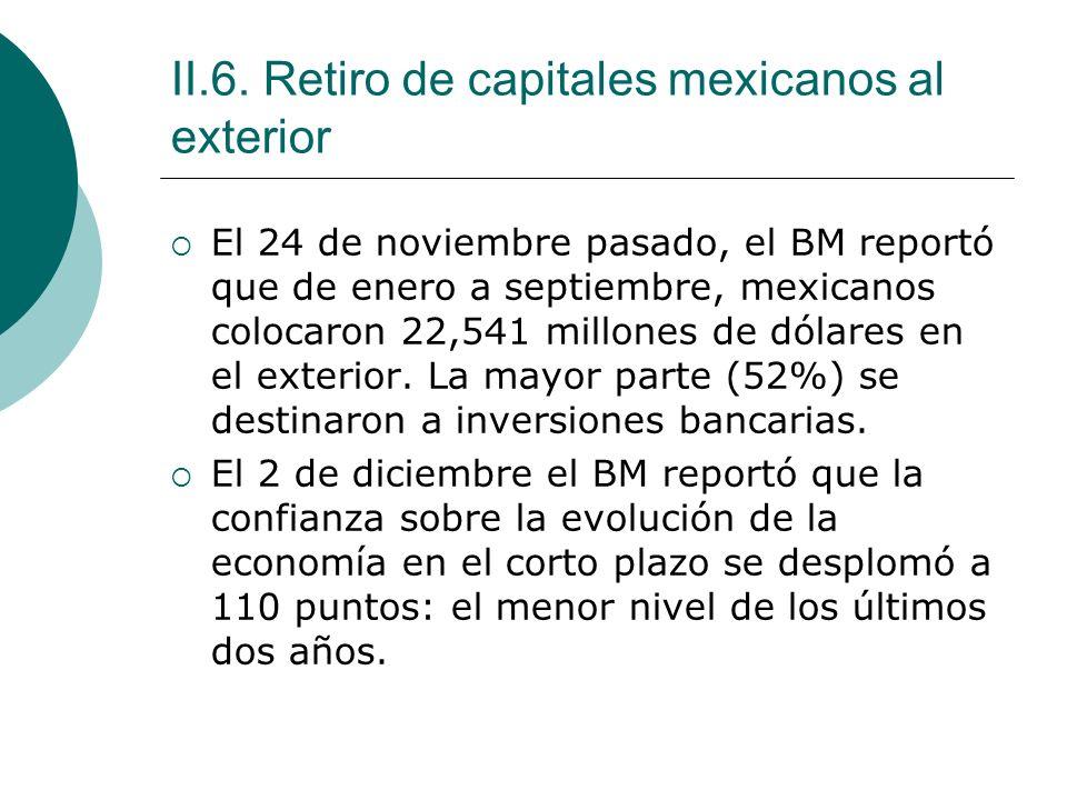 II.6. Retiro de capitales mexicanos al exterior El 24 de noviembre pasado, el BM reportó que de enero a septiembre, mexicanos colocaron 22,541 millone