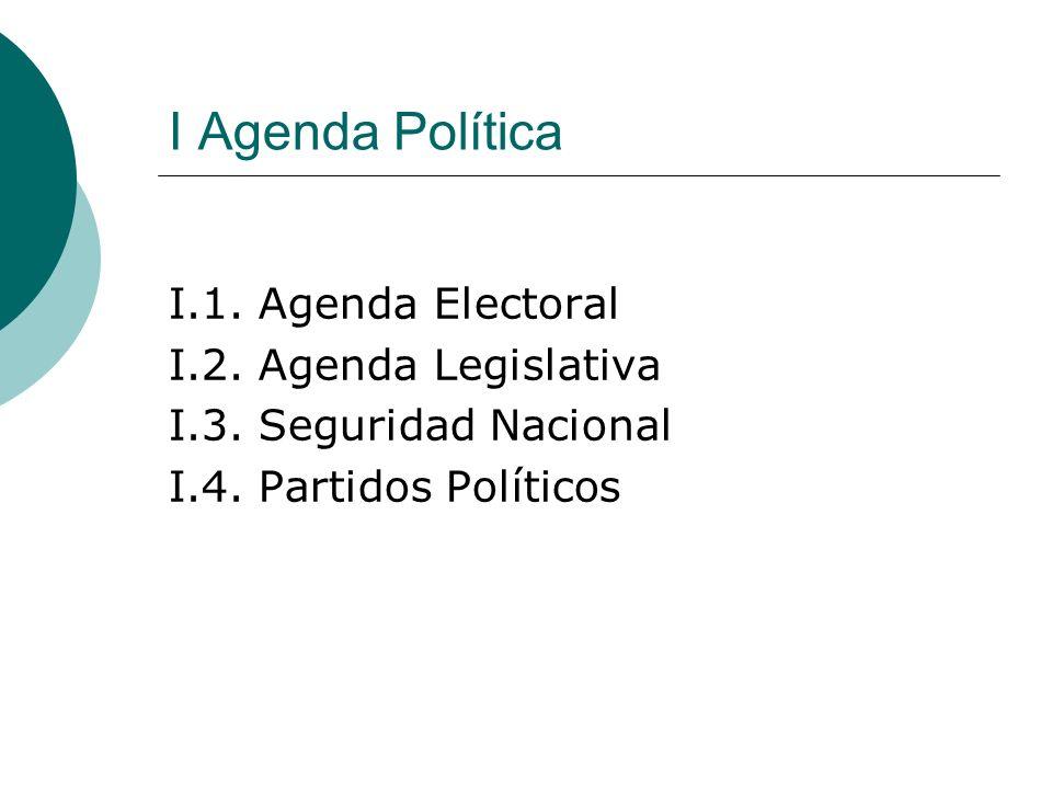 I Agenda Política I.1. Agenda Electoral I.2. Agenda Legislativa I.3.