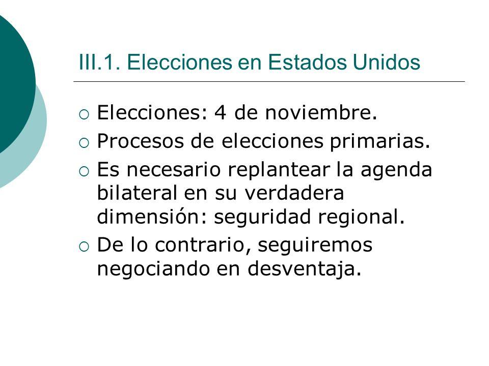 III.1. Elecciones en Estados Unidos Elecciones: 4 de noviembre.