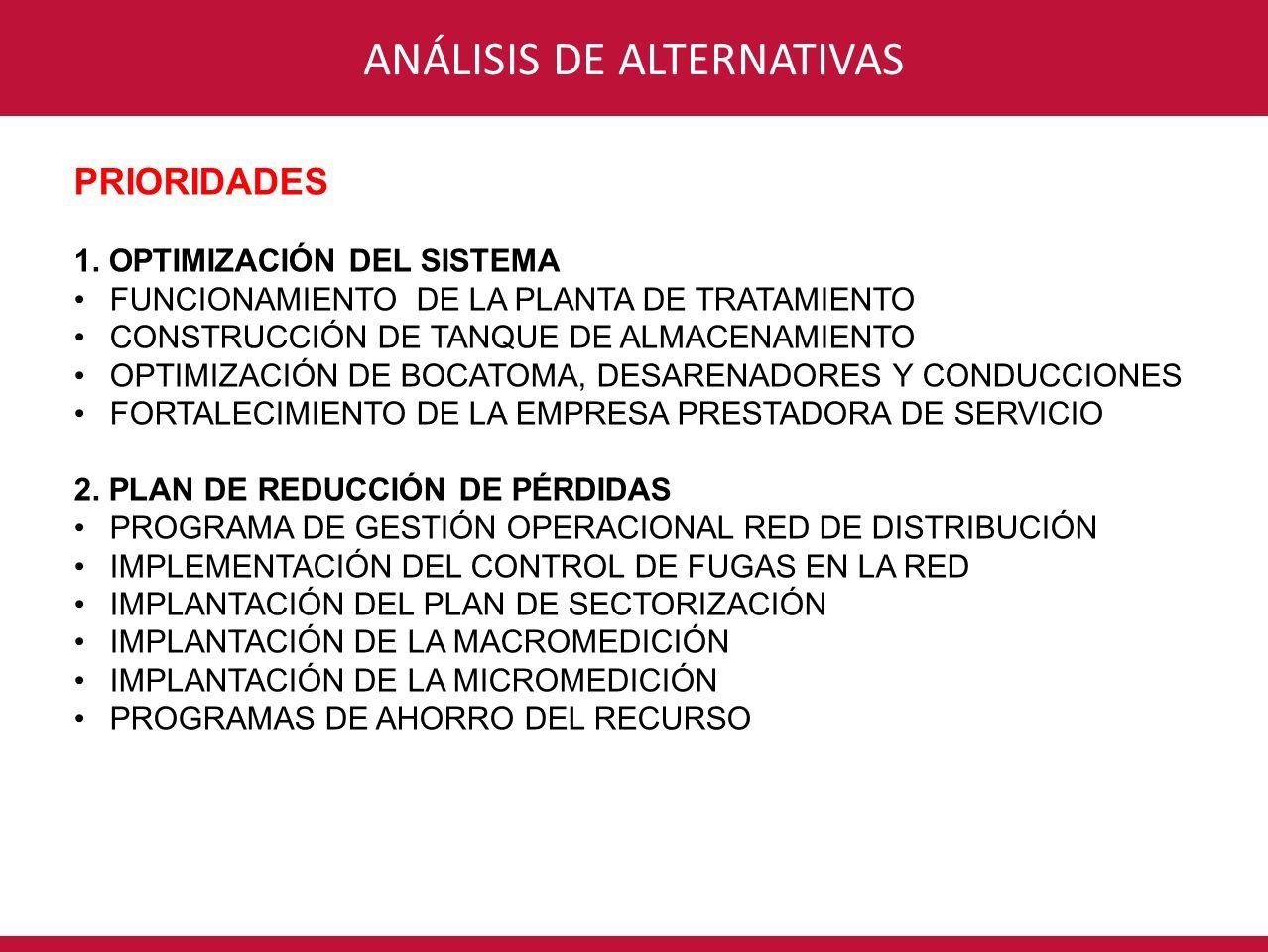 CONSORCIO INTERVENTORÍA POR UN NUEVO VALLEANÁLISIS DE ALTERNATIVAS PRIORIDADES 1. OPTIMIZACIÓN DEL SISTEMA FUNCIONAMIENTO DE LA PLANTA DE TRATAMIENTO