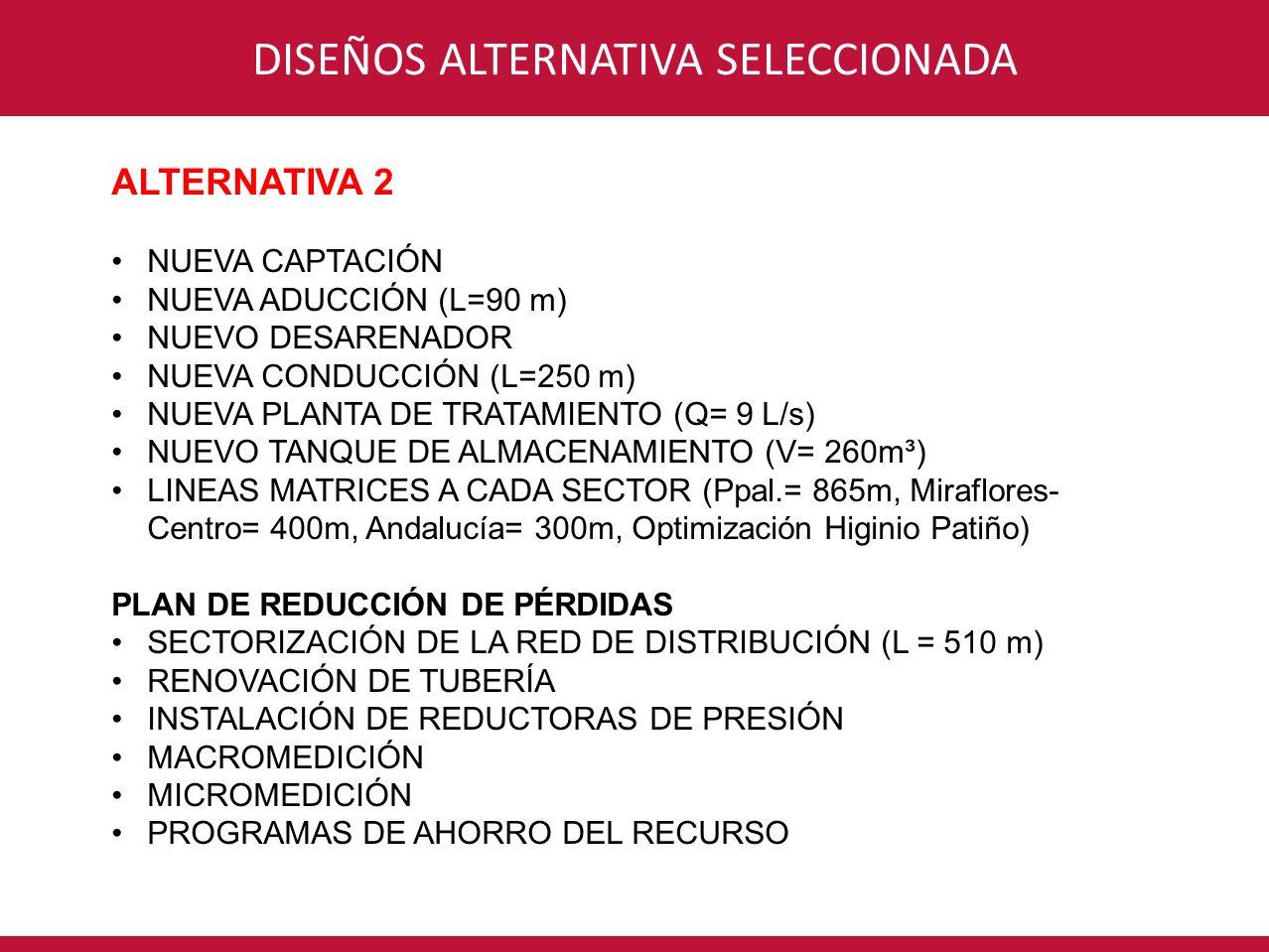 CONSORCIO INTERVENTORÍA POR UN NUEVO VALLEDISEÑOS ALTERNATIVA SELECCIONADA ALTERNATIVA 2 NUEVA CAPTACIÓN NUEVA ADUCCIÓN (L=90 m) NUEVO DESARENADOR NUE
