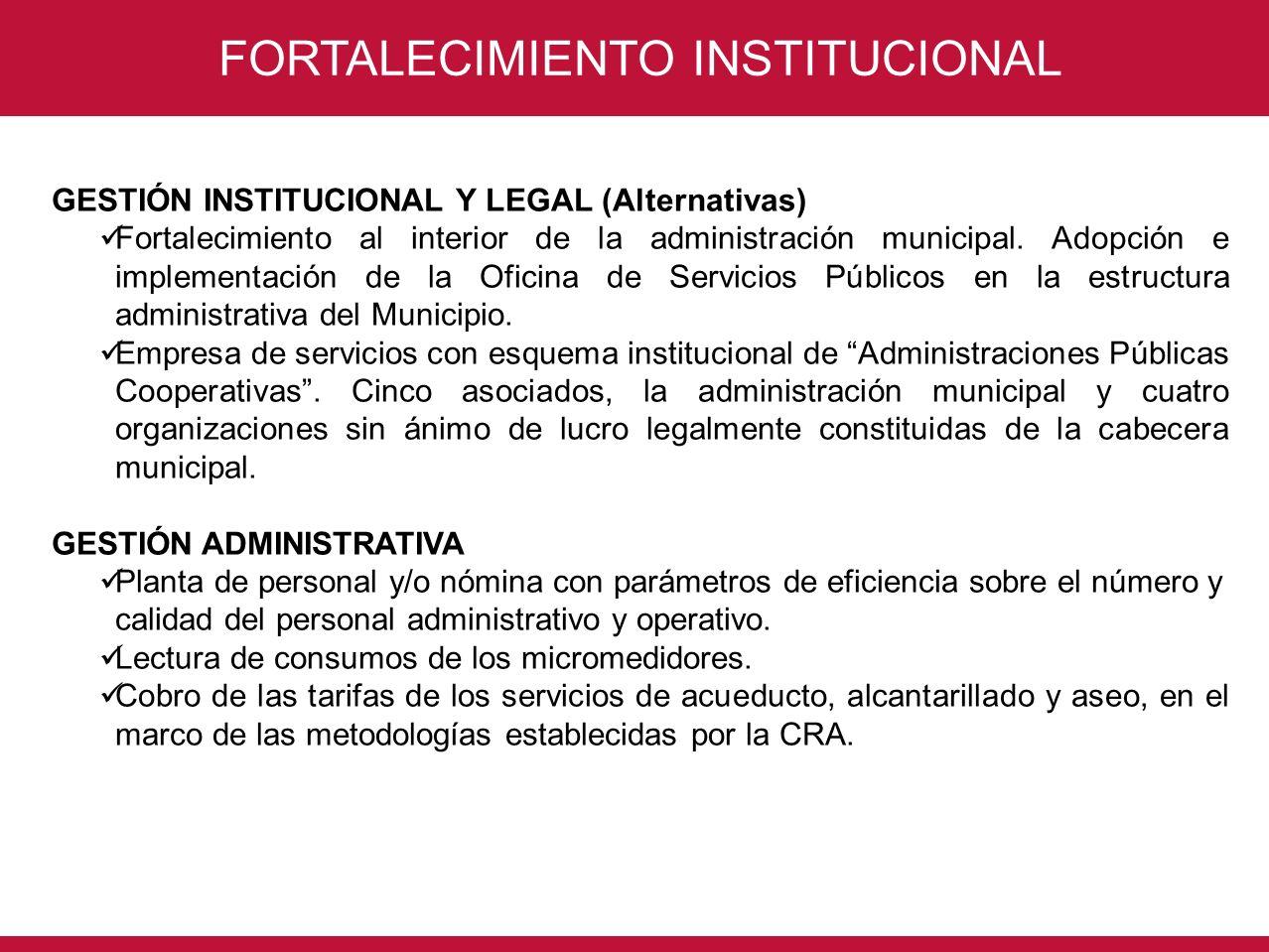 CONSORCIO INTERVENTORÍA POR UN NUEVO VALLE FORTALECIMIENTO INSTITUCIONAL GESTIÓN INSTITUCIONAL Y LEGAL (Alternativas) Fortalecimiento al interior de l
