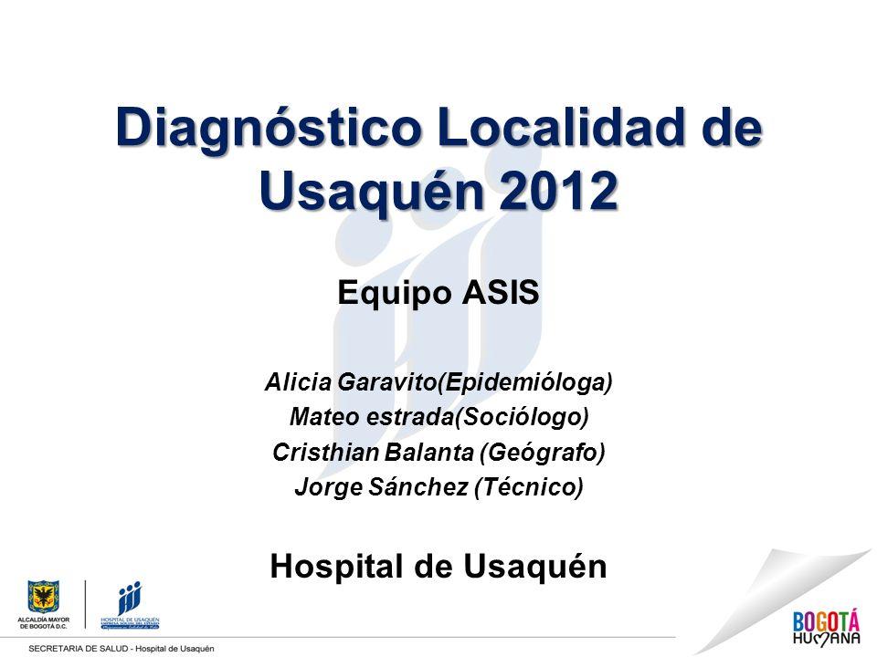 Diagnóstico Localidad de Usaquén 2012 Equipo ASIS Alicia Garavito(Epidemióloga) Mateo estrada(Sociólogo) Cristhian Balanta (Geógrafo) Jorge Sánchez (Técnico) Hospital de Usaquén