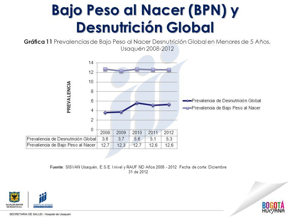Bajo Peso al Nacer (BPN) y Desnutrición Global Gráfica 11 Prevalencias de Bajo Peso al Nacer Desnutrición Global en Menores de 5 Años.