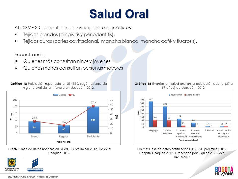Salud Oral Al (SISVESO) se notifican las principales diagnósticos: Tejidos blandos (gingivitis y periodontitis).