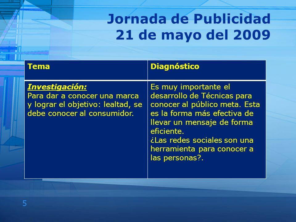 5 Jornada de Publicidad 21 de mayo del 2009 TemaDiagnóstico Investigación: Para dar a conocer una marca y lograr el objetivo: lealtad, se debe conocer