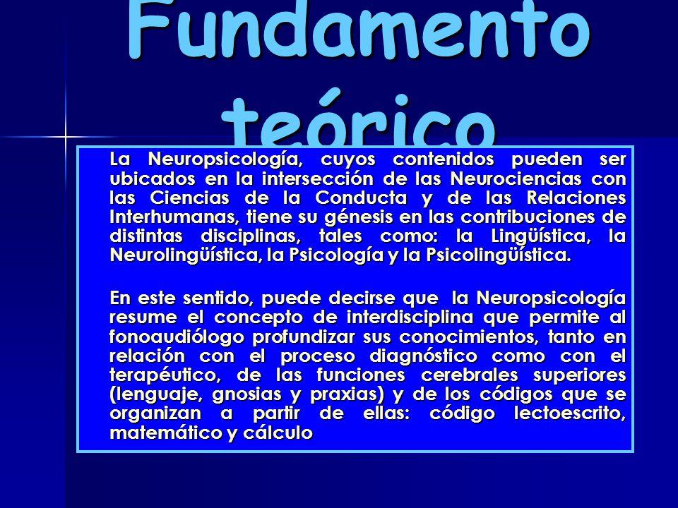 Fundamento teórico La Neuropsicología, cuyos contenidos pueden ser ubicados en la intersección de las Neurociencias con las Ciencias de la Conducta y