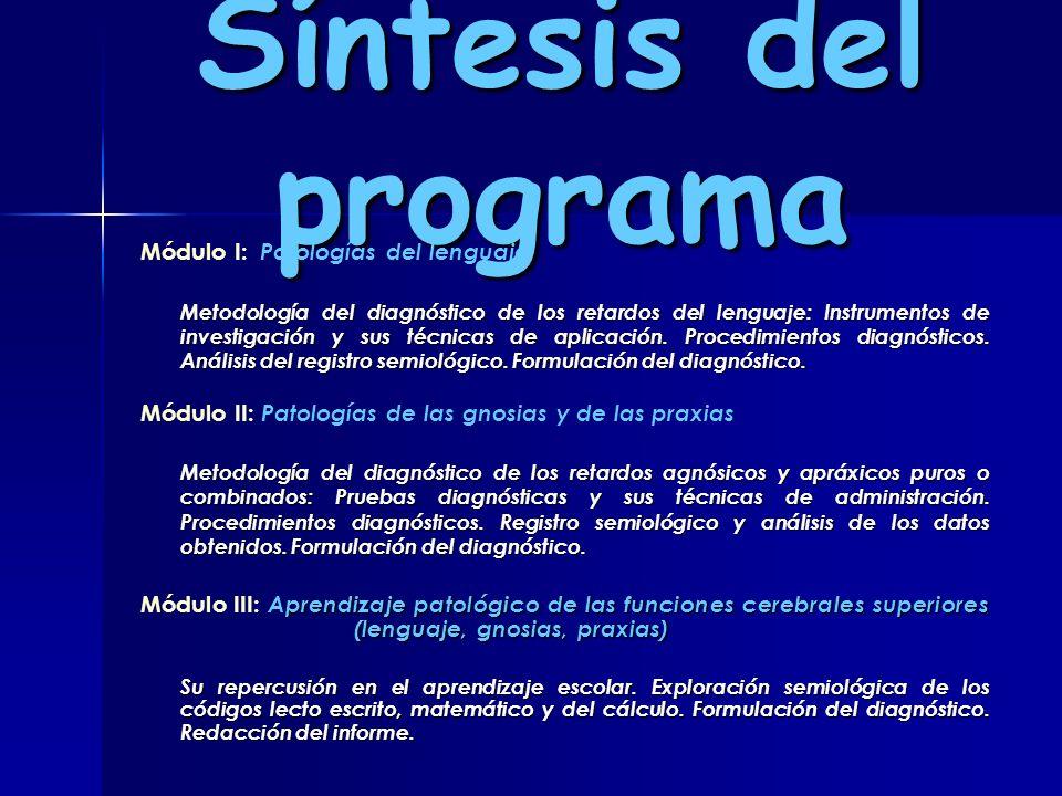 Síntesis del programa Módulo I: Patologías del lenguaje Metodología del diagnóstico de los retardos del lenguaje: Instrumentos de investigación y sus