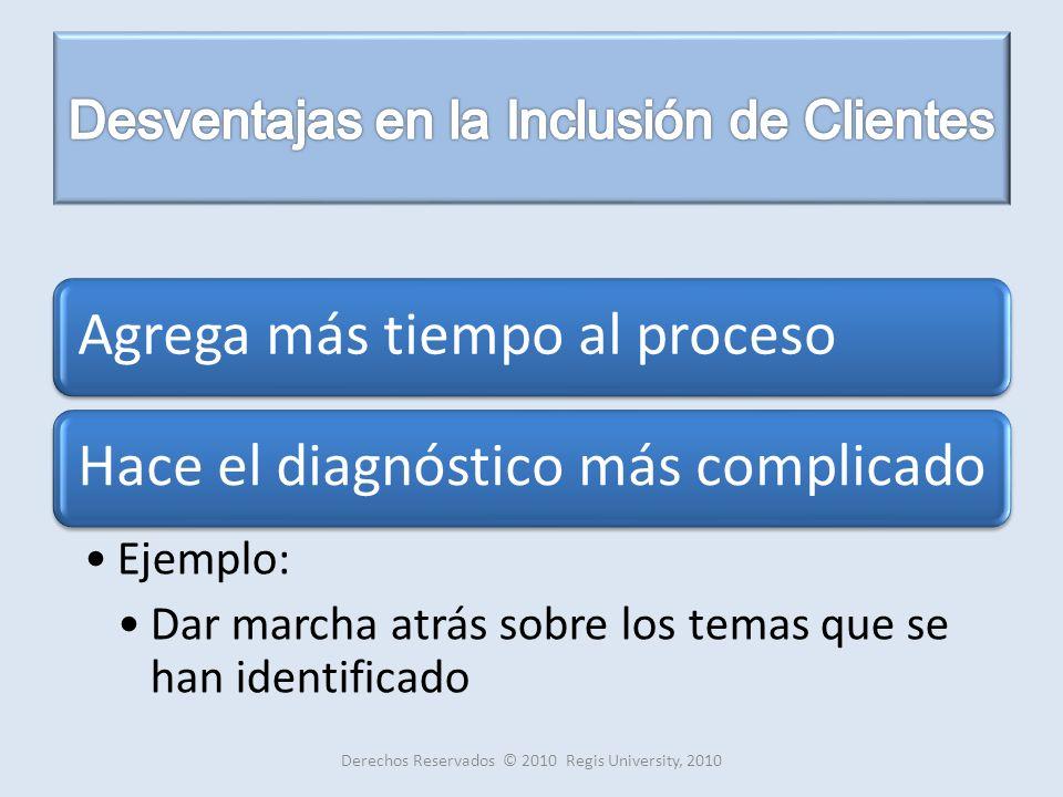 Agrega más tiempo al procesoHace el diagnóstico más complicado Ejemplo: Dar marcha atrás sobre los temas que se han identificado Derechos Reservados © 2010 Regis University, 2010