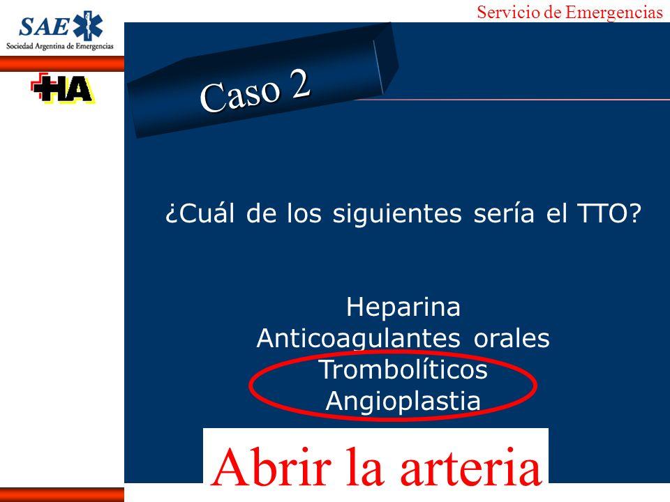 Servicio de Emergencias Alberto José Machado IntroducciónNomencEmergFXTriageCasoDiagnósticoTiempo ¿Cuál de los siguientes sería el TTO? Heparina Antic