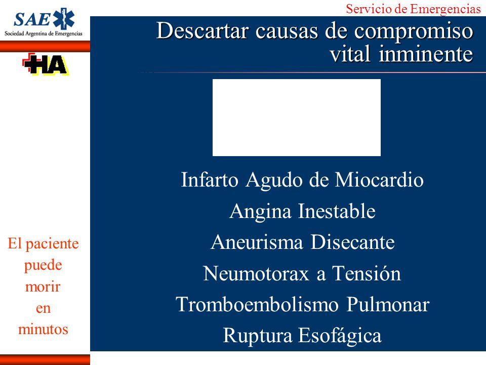 Servicio de Emergencias Alberto José Machado IntroducciónNomencEmergFXTriageCasoDiagnósticoTiempo Descartar causas de compromiso vital inminente Infar