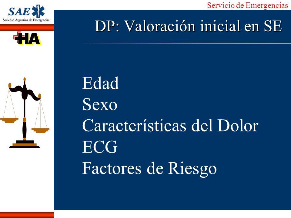 Servicio de Emergencias Alberto José Machado IntroducciónNomencEmergFXTriageCasoDiagnósticoTiempo DP: Valoración inicial en SE Edad Sexo Característic