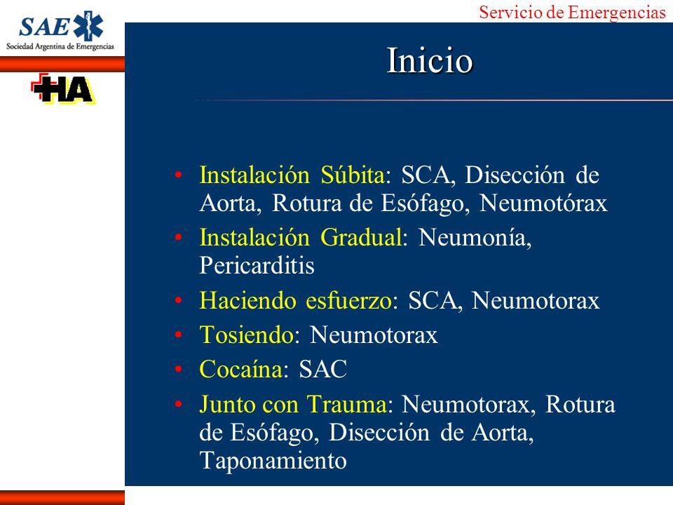 Servicio de Emergencias Alberto José Machado IntroducciónNomencEmergFXTriageCasoDiagnósticoTiempoInicio Instalación Súbita: SCA, Disección de Aorta, R