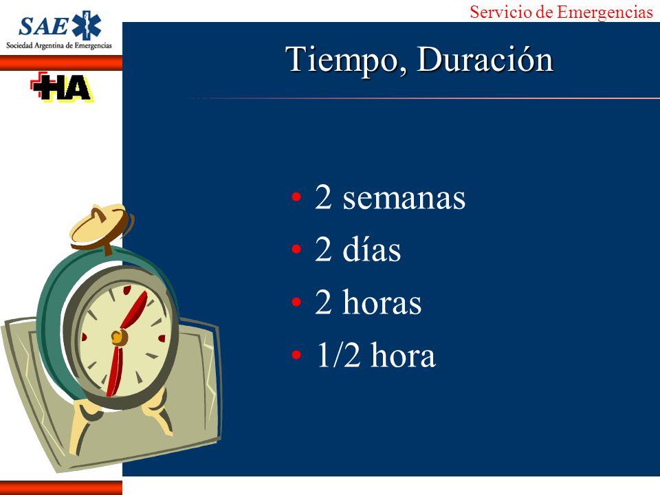 Servicio de Emergencias Alberto José Machado IntroducciónNomencEmergFXTriageCasoDiagnósticoTiempo Tiempo, Duración 2 semanas 2 días 2 horas 1/2 hora