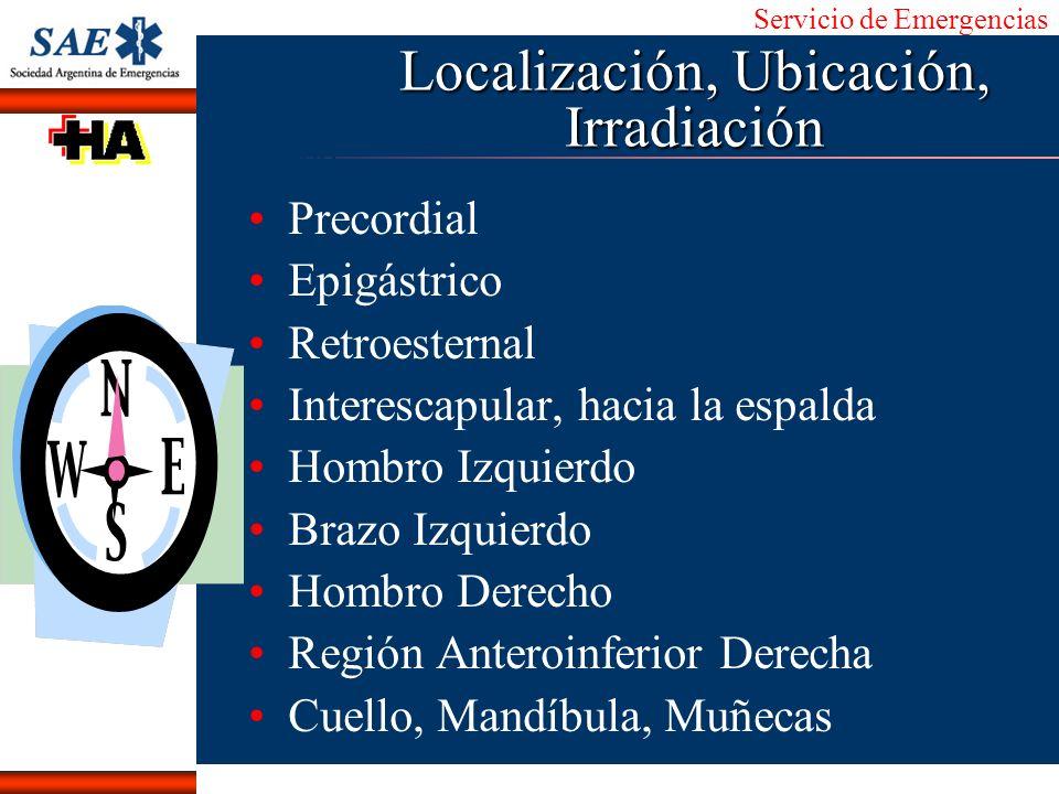 Servicio de Emergencias Alberto José Machado IntroducciónNomencEmergFXTriageCasoDiagnósticoTiempo Localización, Ubicación, Irradiación Precordial Epig