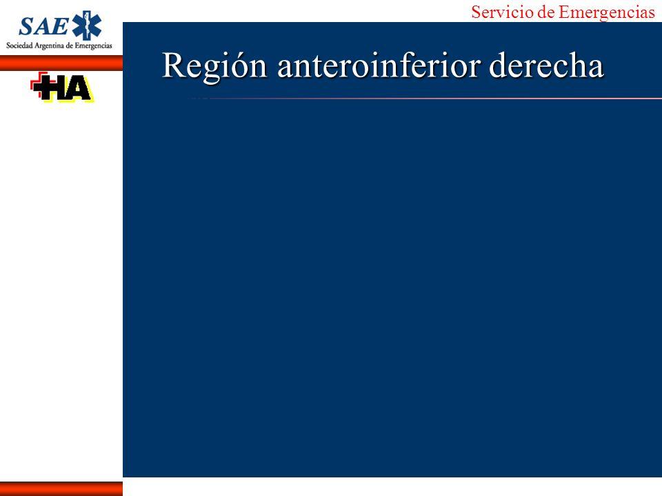 Servicio de Emergencias Alberto José Machado IntroducciónNomencEmergFXTriageCasoDiagnósticoTiempo Región anteroinferior derecha
