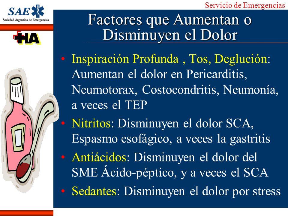 Servicio de Emergencias Alberto José Machado IntroducciónNomencEmergFXTriageCasoDiagnósticoTiempo Factores que Aumentan o Disminuyen el Dolor Inspirac