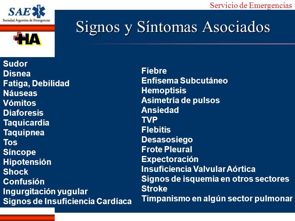 Servicio de Emergencias Alberto José Machado IntroducciónNomencEmergFXTriageCasoDiagnósticoTiempo Signos y Síntomas Asociados Sudor Disnea Fatiga, Deb