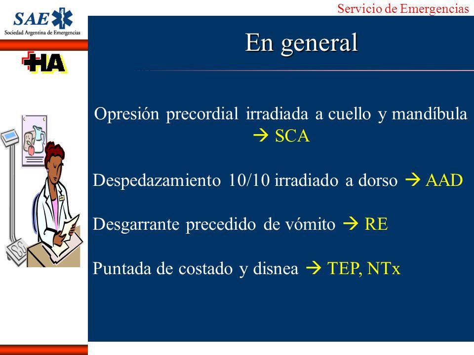 Servicio de Emergencias Alberto José Machado IntroducciónNomencEmergFXTriageCasoDiagnósticoTiempo En general Opresión precordial irradiada a cuello y
