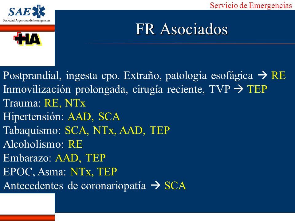 Servicio de Emergencias Alberto José Machado IntroducciónNomencEmergFXTriageCasoDiagnósticoTiempo FR Asociados Postprandial, ingesta cpo. Extraño, pat