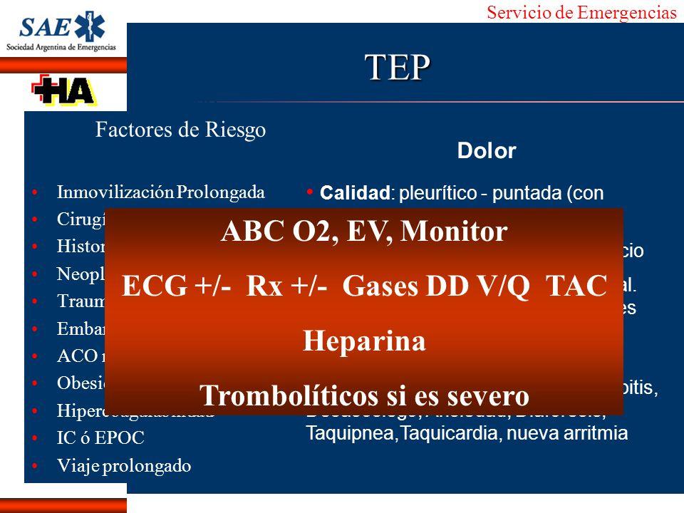 Servicio de Emergencias Alberto José Machado IntroducciónNomencEmergFXTriageCasoDiagnósticoTiempoTEP Factores de Riesgo Inmovilización Prolongada Ciru