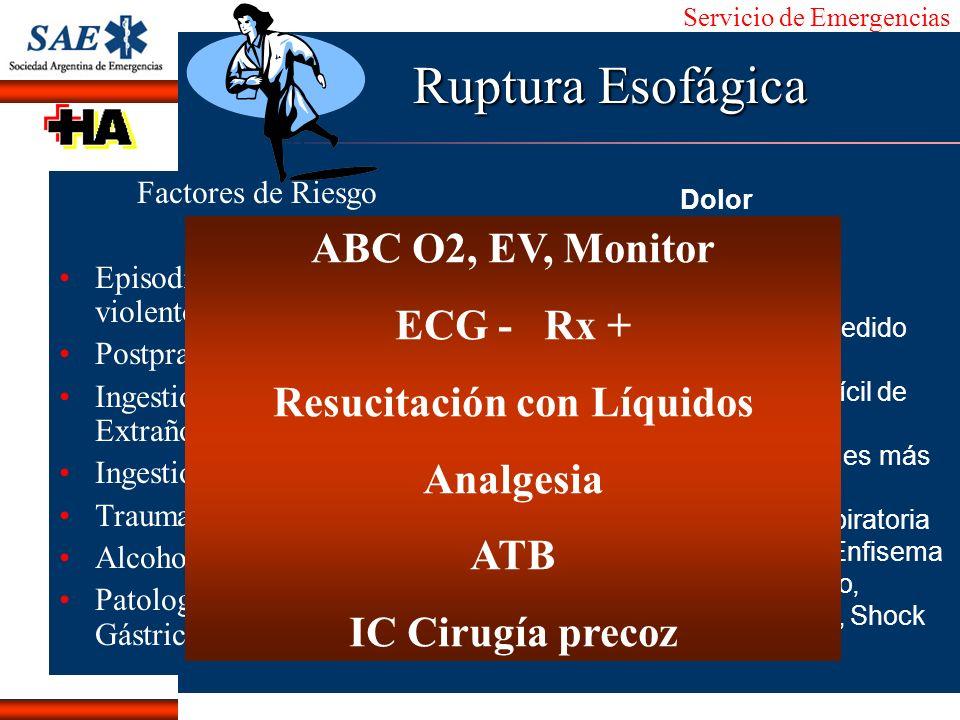 Servicio de Emergencias Alberto José Machado IntroducciónNomencEmergFXTriageCasoDiagnósticoTiempo Ruptura Esofágica Factores de Riesgo Episodio de vóm