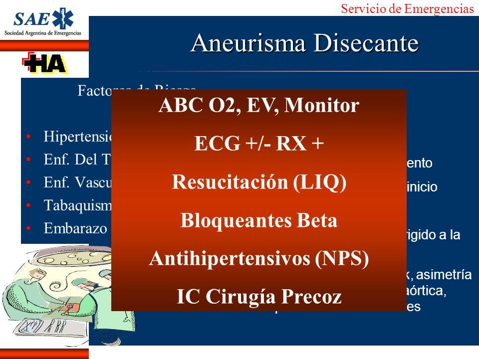Servicio de Emergencias Alberto José Machado IntroducciónNomencEmergFXTriageCasoDiagnósticoTiempo Aneurisma Disecante Factores de Riesgo Hipertensión