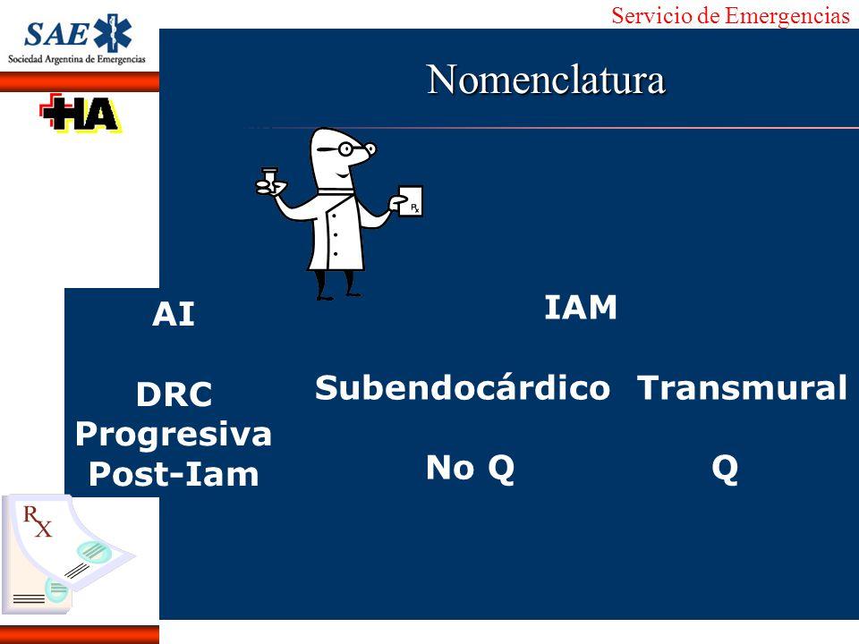 Servicio de Emergencias Alberto José Machado IntroducciónNomencEmergFXTriageCasoDiagnósticoTiempo AI DRC Progresiva Post-Iam IAM Subendocárdico Transm