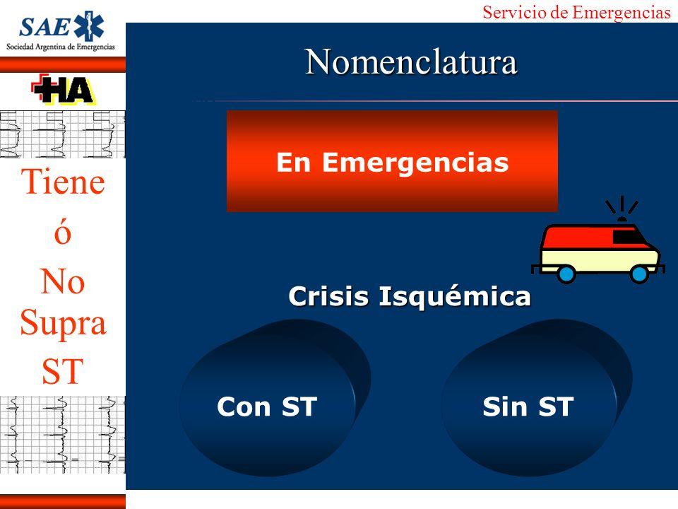 Servicio de Emergencias Alberto José Machado IntroducciónNomencEmergFXTriageCasoDiagnósticoTiempo En Emergencias Crisis Isquémica Con STSin ST Nomencl