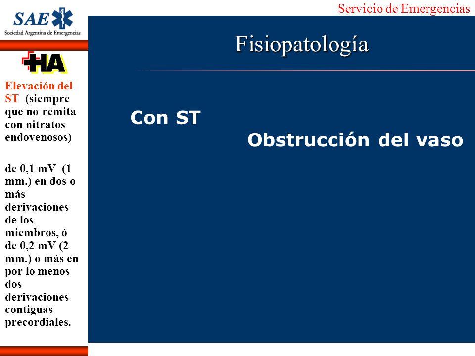 Servicio de Emergencias Alberto José Machado IntroducciónNomencEmergFXTriageCasoDiagnósticoTiempo Con ST Obstrucción del vaso Fisiopatología Elevación