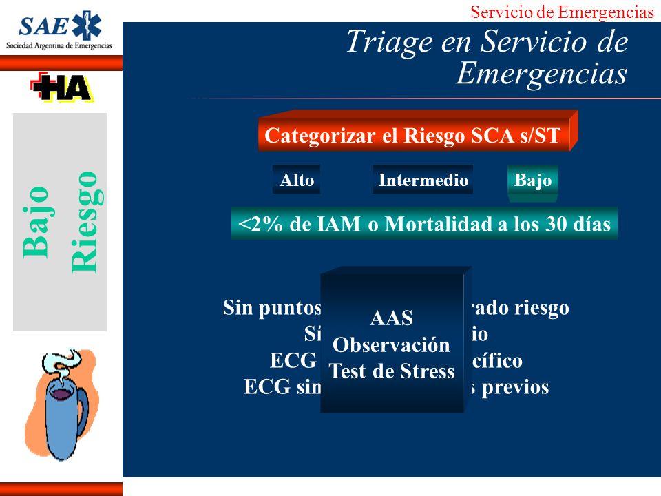Servicio de Emergencias Alberto José Machado IntroducciónNomencEmergFXTriageCasoDiagnósticoTiempo AltoIntermedio Bajo Sin puntos de alto o moderado ri
