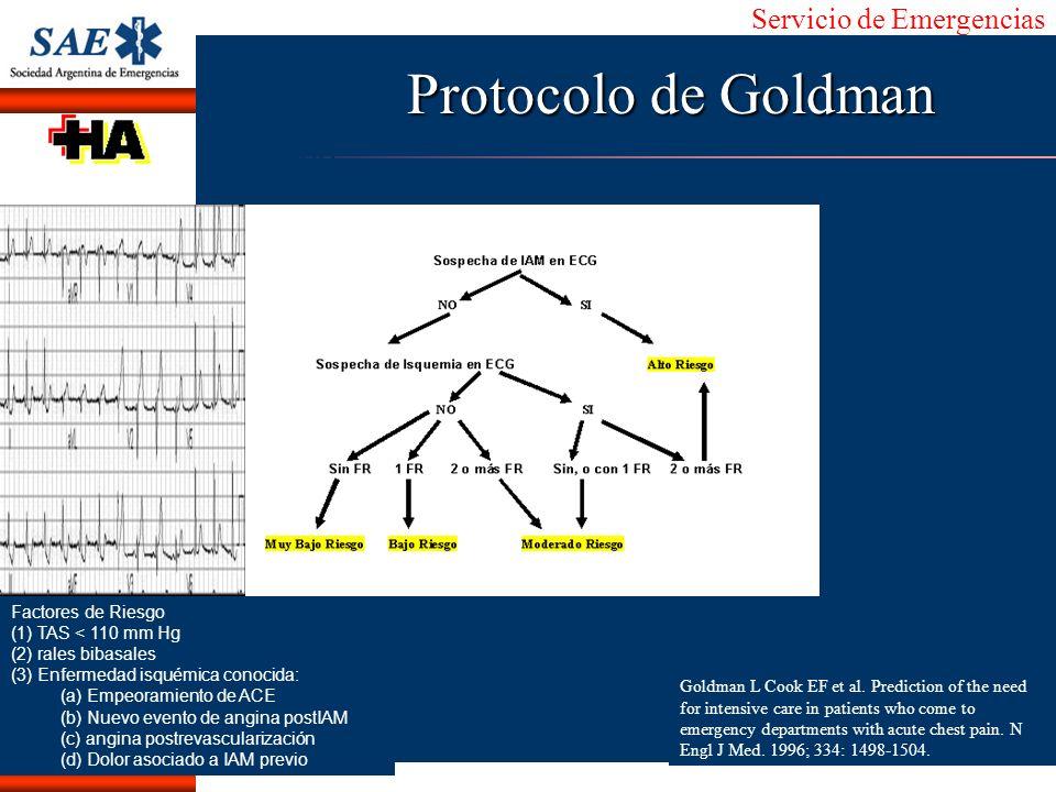 Servicio de Emergencias Alberto José Machado IntroducciónNomencEmergFXTriageCasoDiagnósticoTiempo Protocolo de Goldman Factores de Riesgo (1) TAS < 11