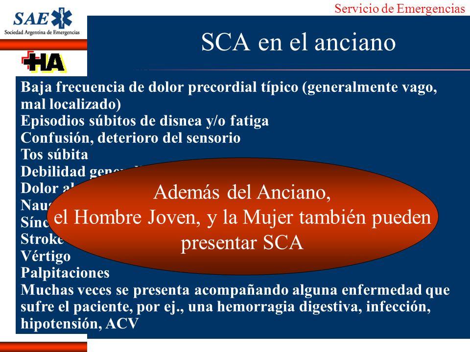 Servicio de Emergencias Alberto José Machado IntroducciónNomencEmergFXTriageCasoDiagnósticoTiempo SCA en el anciano Baja frecuencia de dolor precordia