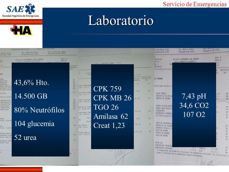 Servicio de Emergencias Alberto José Machado IntroducciónNomencEmergFXTriageCasoDiagnósticoTiempoLaboratorio 43,6% Hto. 14.500 GB 80% Neutrófilos 104
