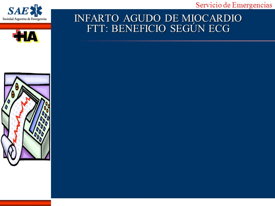 Servicio de Emergencias Alberto José Machado IntroducciónNomencEmergFXTriageCasoDiagnósticoTiempo INFARTO AGUDO DE MIOCARDIO FTT: BENEFICIO SEGÚN ECG