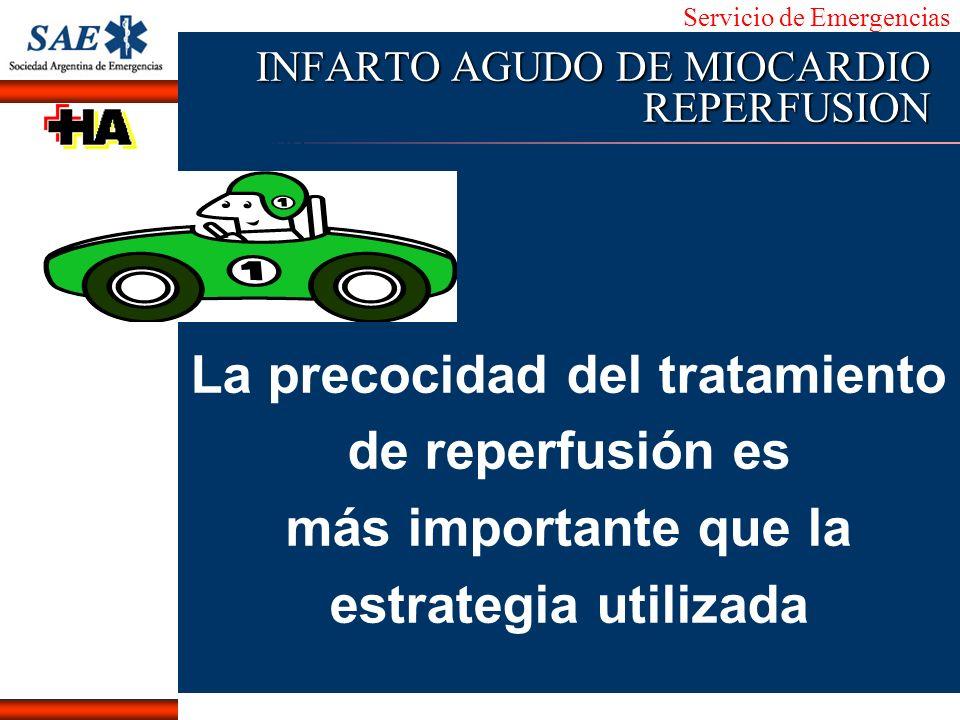 Servicio de Emergencias Alberto José Machado IntroducciónNomencEmergFXTriageCasoDiagnósticoTiempo INFARTO AGUDO DE MIOCARDIO REPERFUSION La precocidad