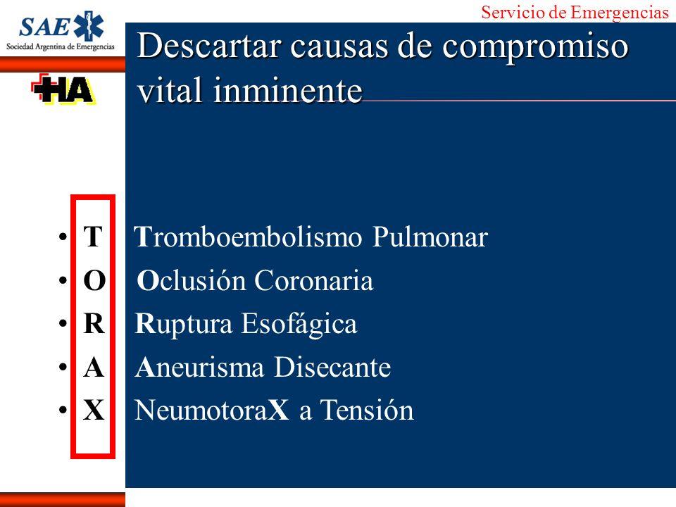 Servicio de Emergencias Alberto José Machado IntroducciónNomencEmergFXTriageCasoDiagnósticoTiempo Descartar causas de compromiso vital inminente T Tro