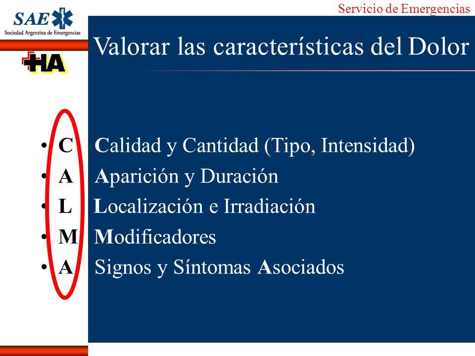Servicio de Emergencias Alberto José Machado IntroducciónNomencEmergFXTriageCasoDiagnósticoTiempo Valorar las características del Dolor C Calidad y Ca