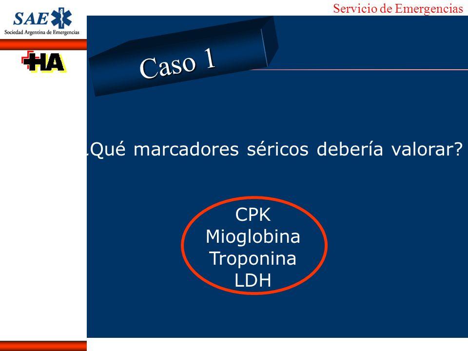 Servicio de Emergencias Alberto José Machado IntroducciónNomencEmergFXTriageCasoDiagnósticoTiempo ¿Qué marcadores séricos debería valorar? CPK Mioglob
